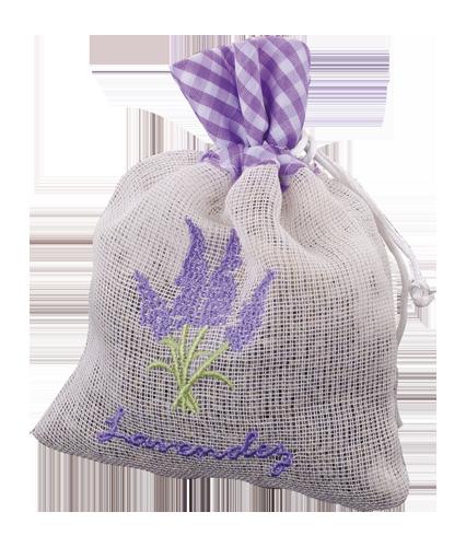 lavender blossoms in linen bag