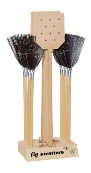 wooden display with fly swatter